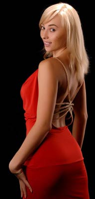Ukraine mail order bride in a sexy red outfit