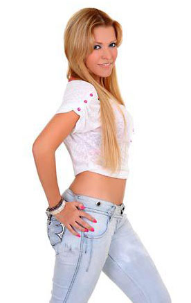 Sexy Colombian lady in tight jeans
