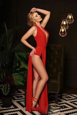 blazing hot Ukrainian in a red dress