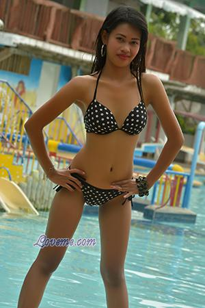 Lovely Filipina wearing polka dots two piece