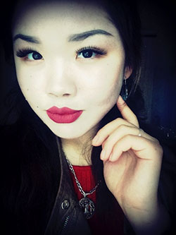 Kazakh lady in red lipstick