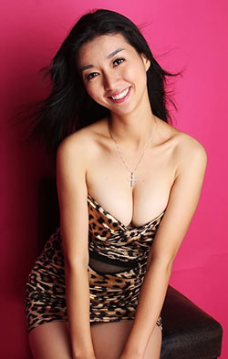 Chinese beauty in short leopard print dress