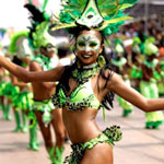 Barranquilla carnival girl in green
