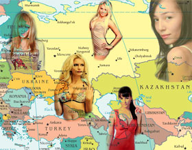 European women on a map