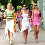 Odessa girls strutting down sidewalk