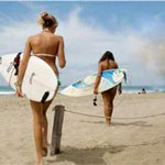 Surfer girls at beach in Lima Peru