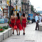 Vladivostok girls in red dresses
