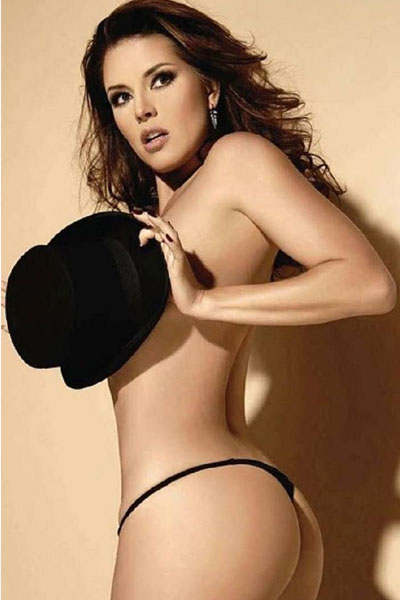 Alicia Machado topless with top hat