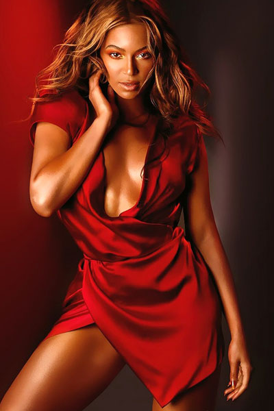 foxy Beyonce in red dress