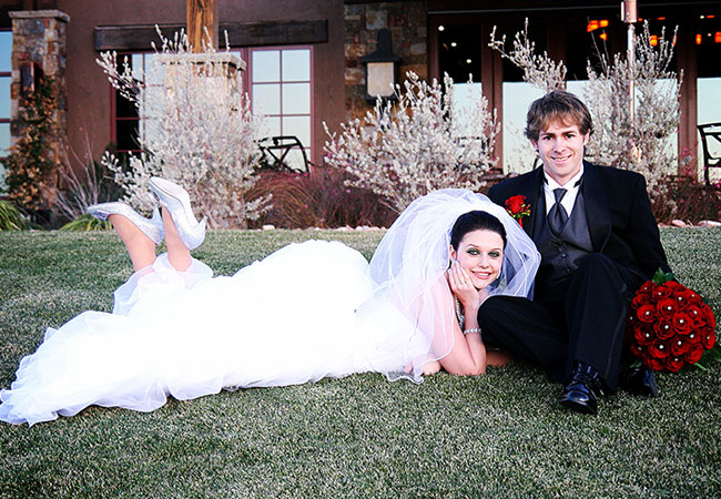 Russian bride and groom having their pictorial outdoors