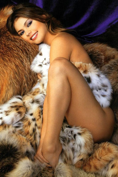 Alina Kabaeva covered in fur