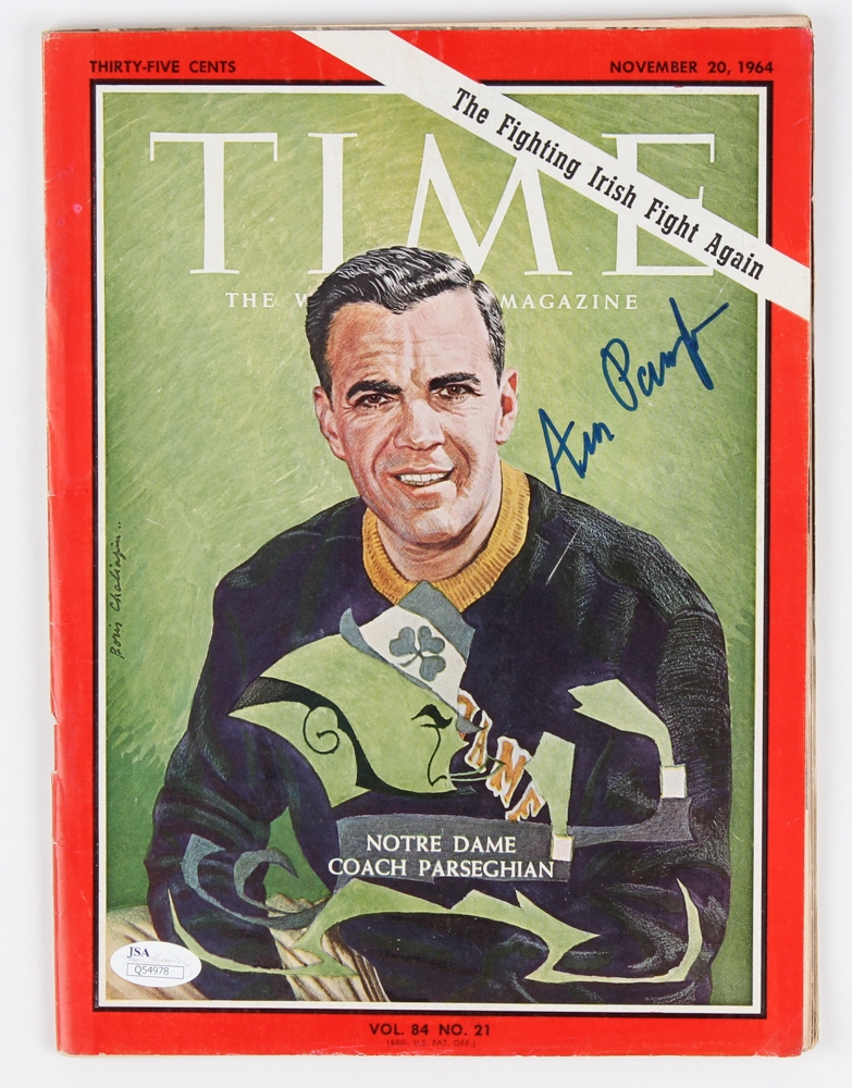 Ara Parseghian signed Time magazine cover 1964