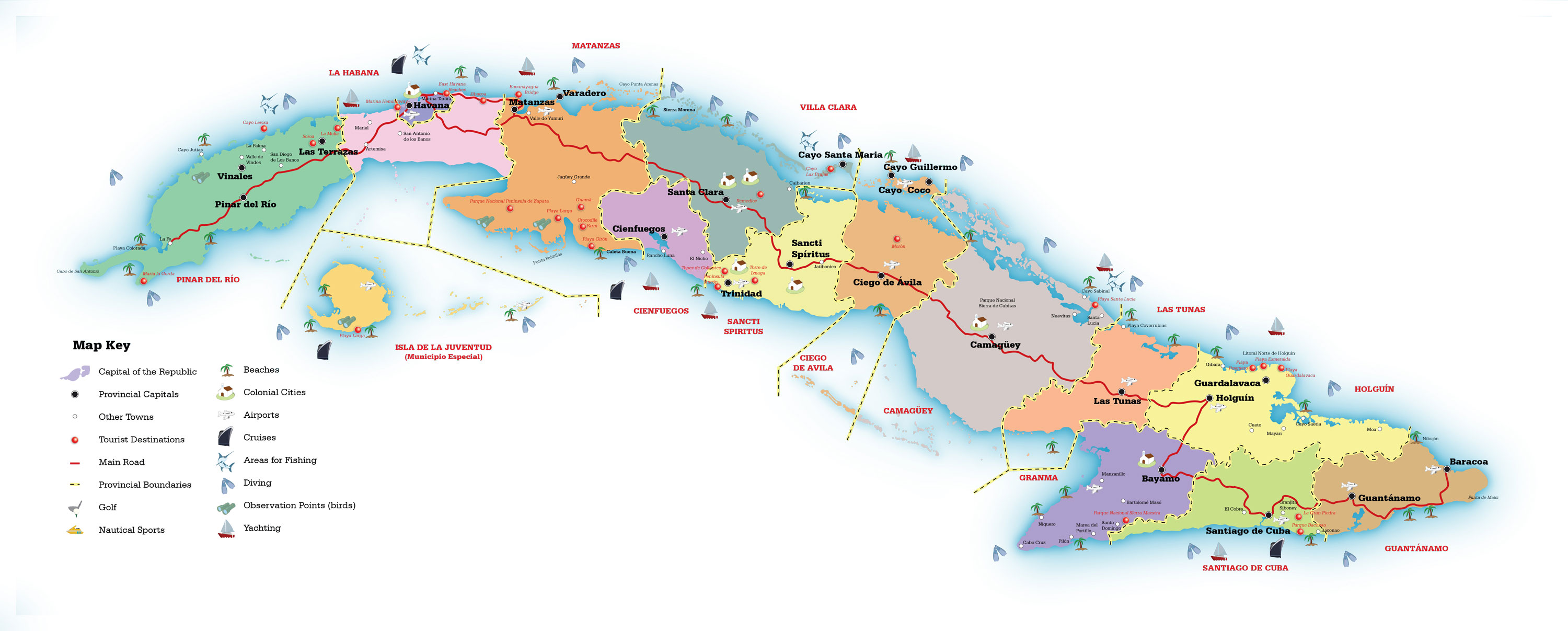 Tourist map of Cuba