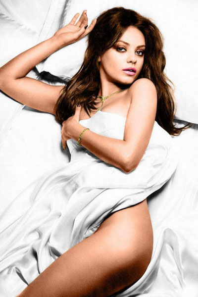 Mila Kunis covered in sheets