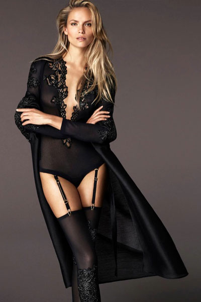 Natasha Poly in pretty black lingerie