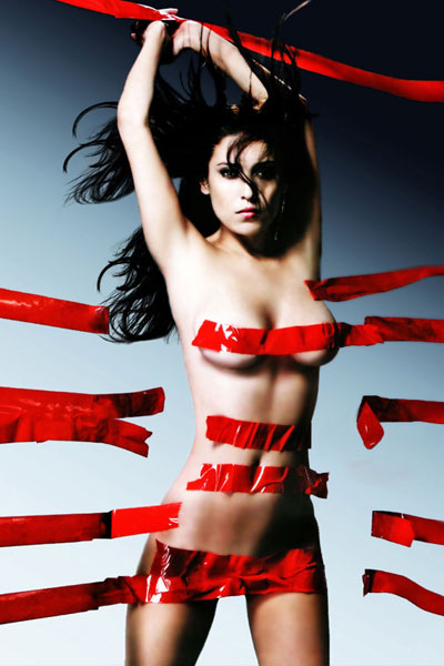 seductive Alena Vinnitskaya covered with red tape