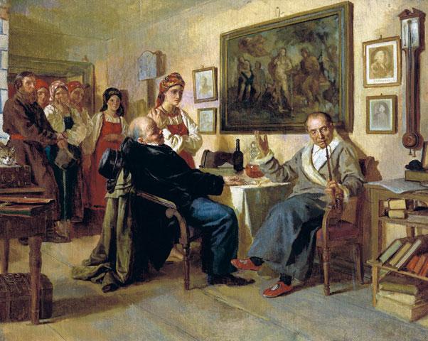 "1866 painting, ""The Bargain"" by Nikolai Nevrev."