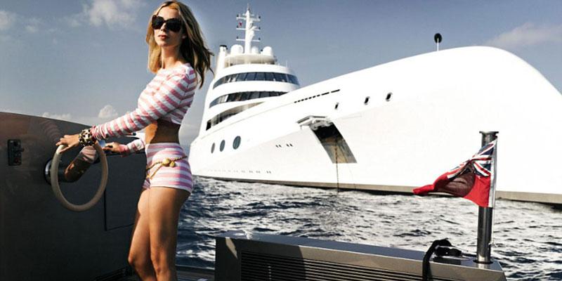Young wife on luxury yacht