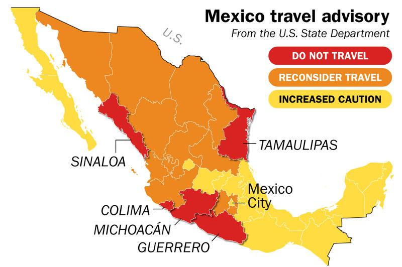 Mexico travel advisory map