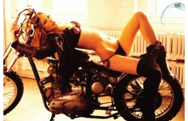 Hot Brazil Babe on a motorcycle