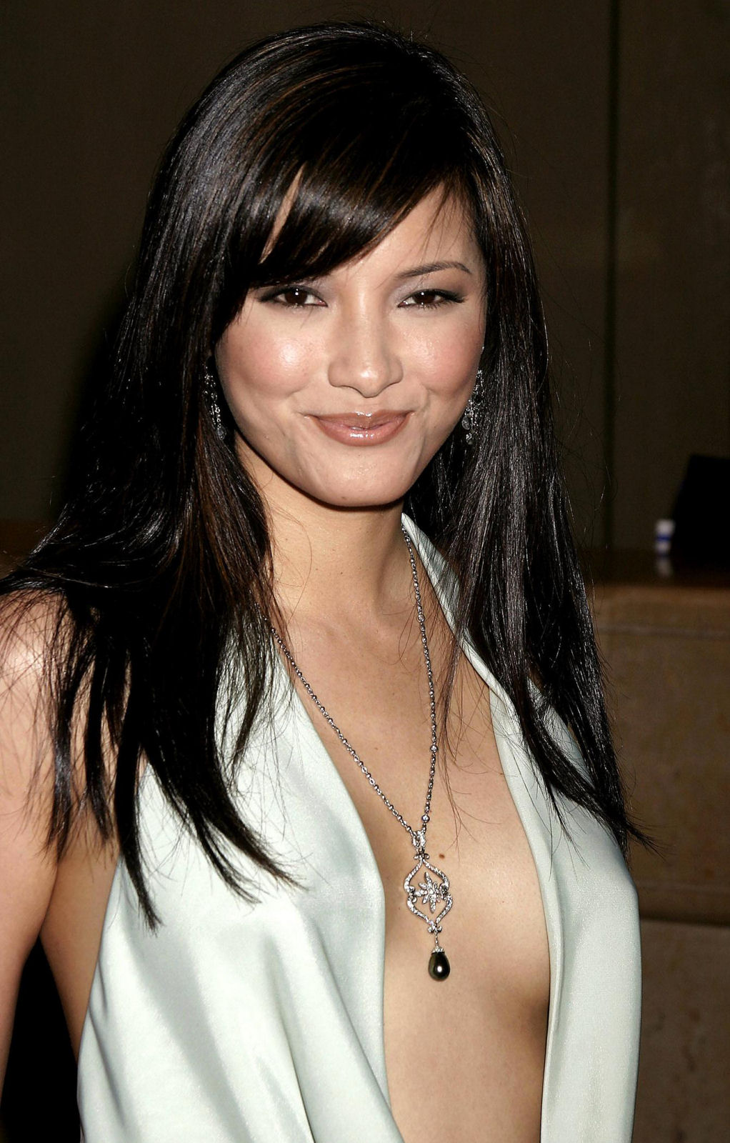 Kelly Hu sexy in A White Dress