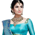 Divya Parameshwaran in blue sari