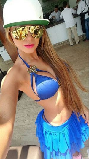 Colombian model cool in a blue bikini