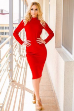 curvy moldovan woman sexy in longsleeves red dress