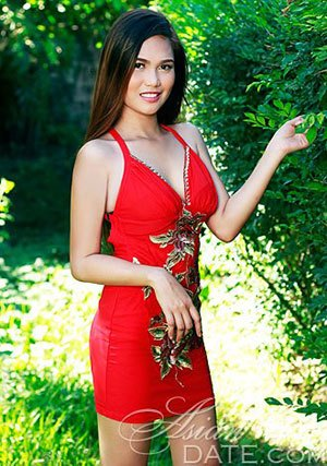 lovely Filipina lady in red dress