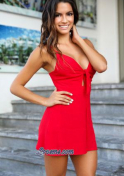 Mexican woman standout in red dress