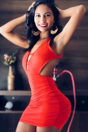 sultry Brazilian babe hot in red dress