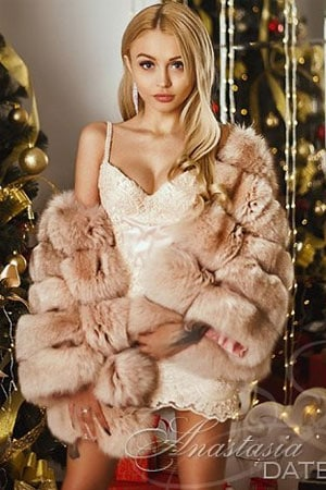 lovely Russian girl wearing fur coat