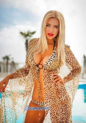 sexy hot Ukraine woman in a leopard print bikini