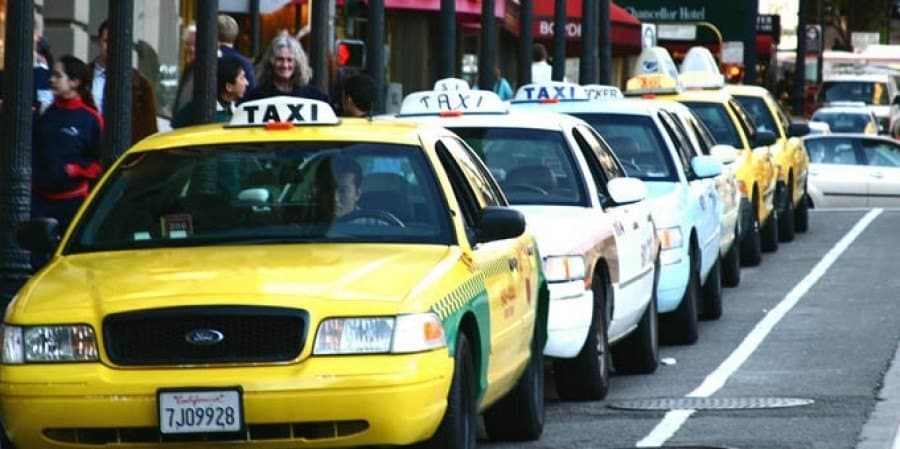 a line of taxis