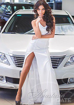 attractive Ukrainian girl in all white dress