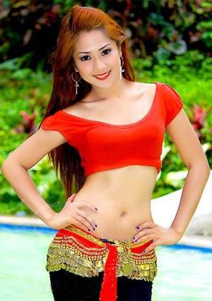 beautiful Filipina in red