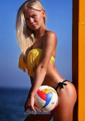 Belarus babe holding a volleyball