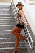 Belarus babe in leopard print hat and tops