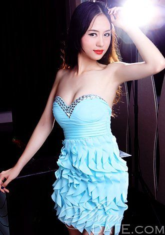 Chinese babe in a cute blue dress