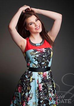 cute Czech girl in a floral dress