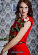 cute kazakh babe in red dress holding a rose