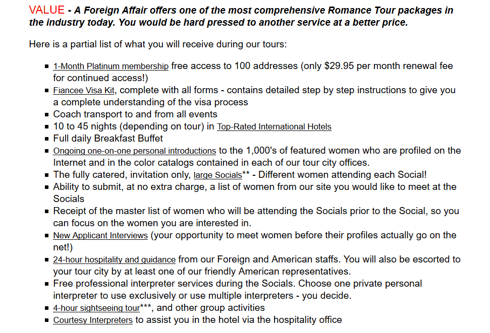 Foreign Affair romance tour services