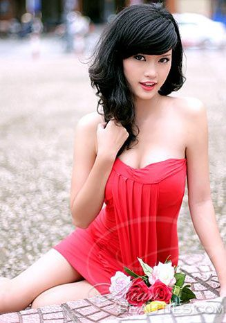 foxy Viet beauty in red dress