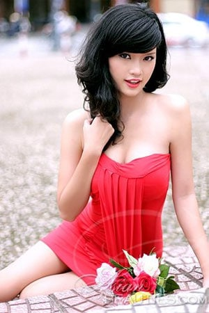 foxy Vietnamese beauty in red dress