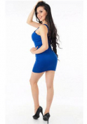 gorgeous Colombian babe wearing a little blue dress