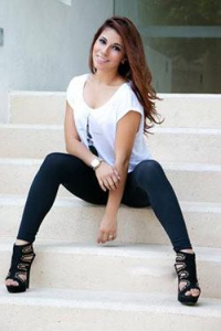 gorgeous Mexican girl sitting on the stairs