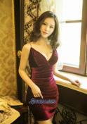 hot Chinese girl in red velvet dress