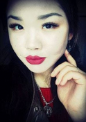 Kazakh girl in red lipstick