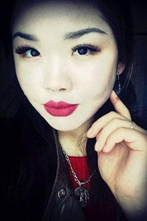 Kazakh girl in red lipstick