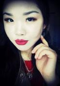 Kazakh lady in red lipstick